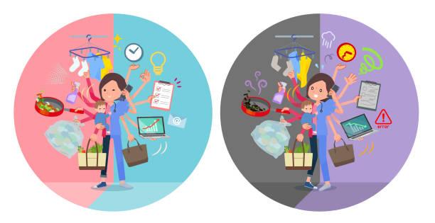 ilustrações de stock, clip art, desenhos animados e ícones de flat type surgical wear women_mulch task switch - fail cooking