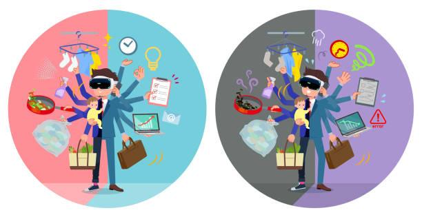 ilustrações de stock, clip art, desenhos animados e ícones de flat type vr goggle men_mulch task switch - fail cooking