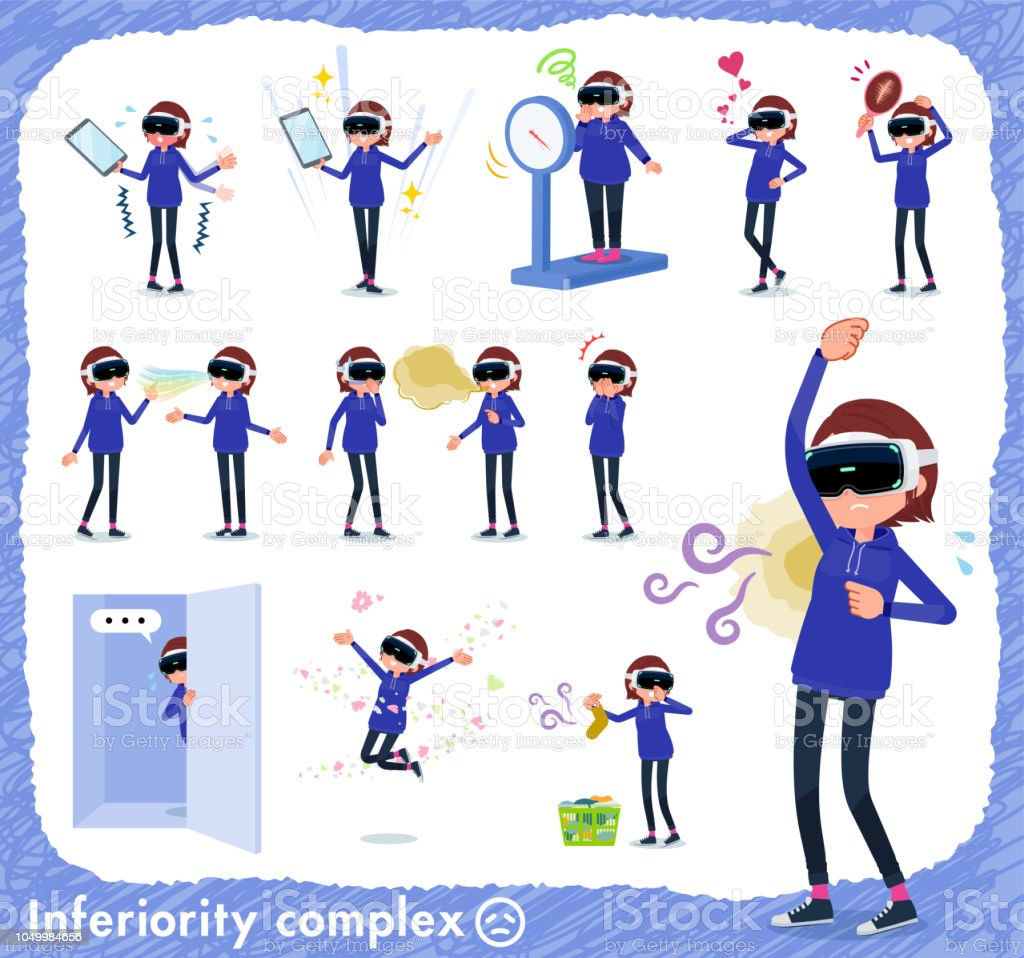 flat type VR goggle women_complex vector art illustration