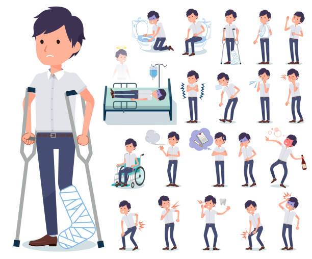 flat type White short sleeved men_sickness A set of businessman with injury and illness.There are actions that express dependence and death.It's vector art so it's easy to edit. medical condition stock illustrations