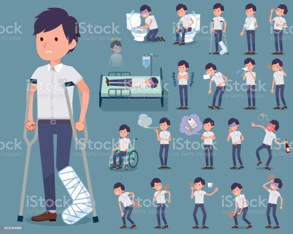 flat type White short sleeved men_sickness vector art illustration