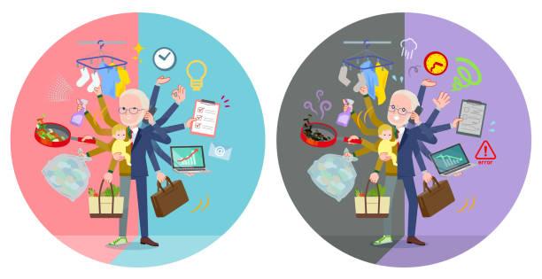 ilustrações de stock, clip art, desenhos animados e ícones de flat type yellow knit old man white_mulch task switch - fail cooking