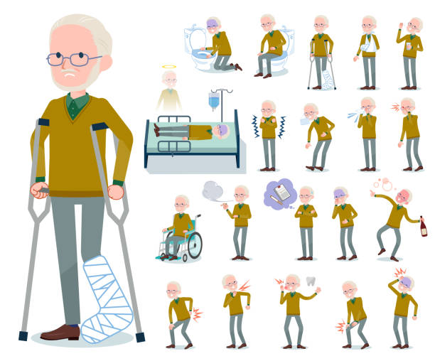 flat type yellow knit old man white_sickness - old man mask stock illustrations, clip art, cartoons, & icons