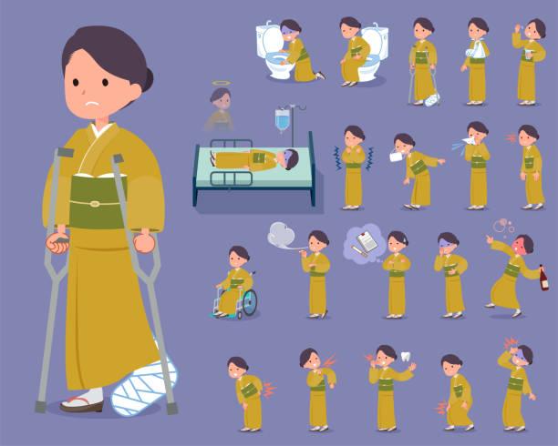 平型黄土色の着物 women_sickness - くしゃみ 日本人点のイラスト素材/クリップアート素材/マンガ素材/アイコン素材