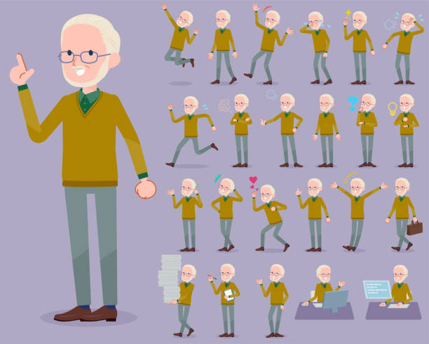 flat type yellow ocher knit old man white_1 - old man glasses stock illustrations, clip art, cartoons, & icons
