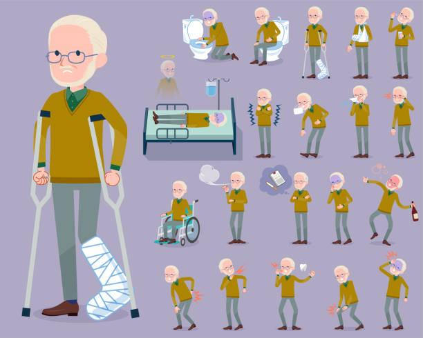flat type yellow ocher knit old man white_sickness - old man mask stock illustrations