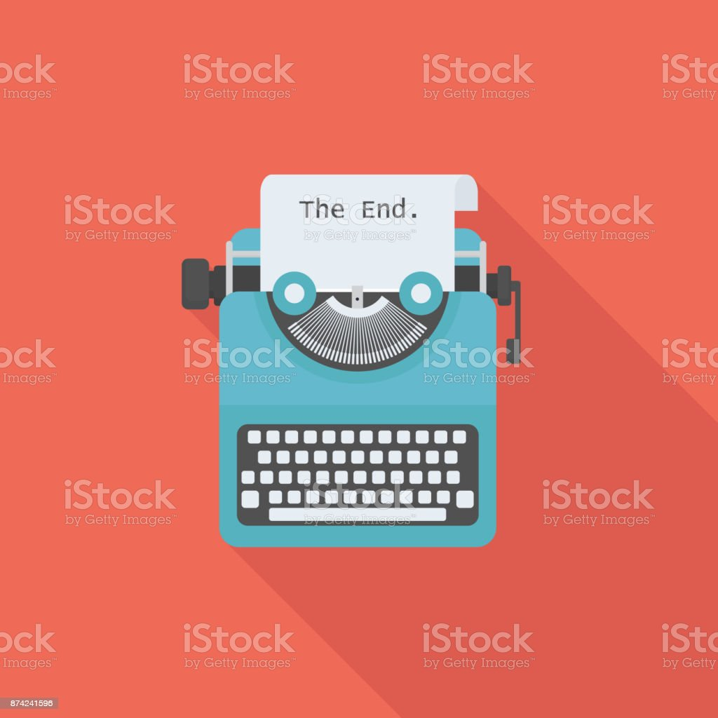 Flat typewriter with long shadow vector art illustration
