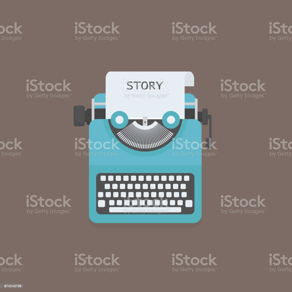 Flat typewriter with Story Word Title vector art illustration