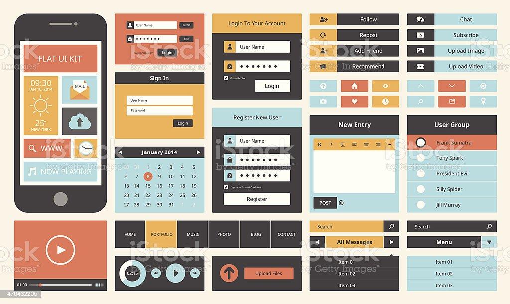 Flat UI design kit vector art illustration
