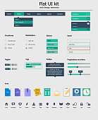 Flat UI kit with various colored icons