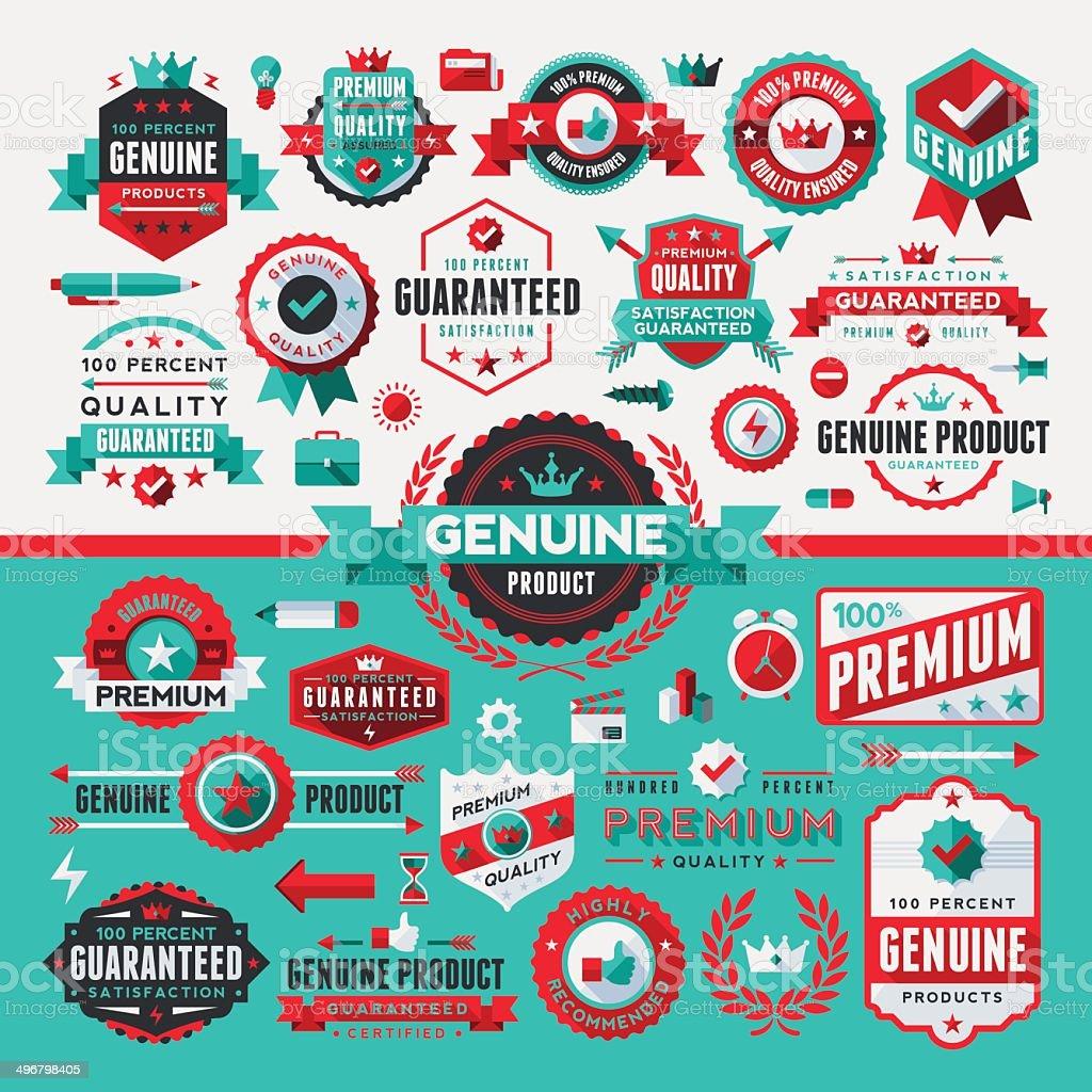 Flat UI Style Labels Complete Set vector art illustration