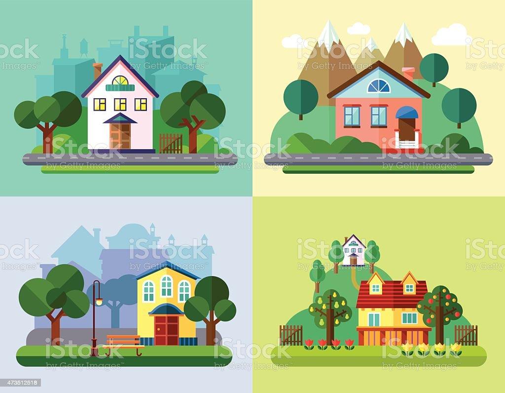 Flat Urban and Village Landscapes vector art illustration