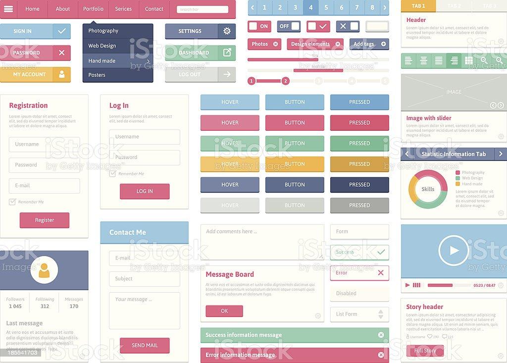 Flat user interface elements set vector art illustration