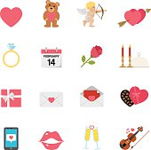 Simple, flat, cartoon style valentine's day & love icon set for your web page, interactive, presentation, print, and all sorts of design need.