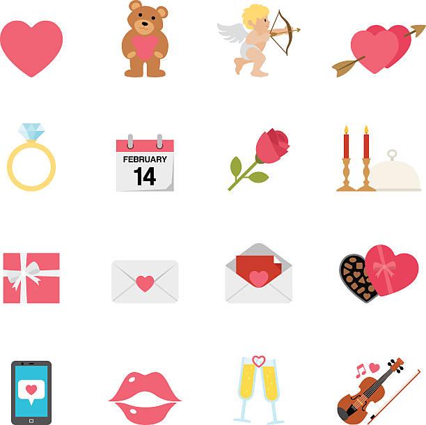 ilustraciones, imágenes clip art, dibujos animados e iconos de stock de plano del día de san valentín simpletoon iconos/serie - calendario de flores