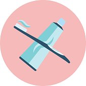 istock Flat vector blue toothpaste and brush icon 801948016