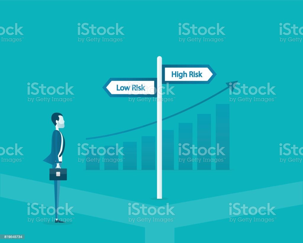 flat vector business man choose the way between low risk and high risk concept and business finance investment concept. vector art illustration