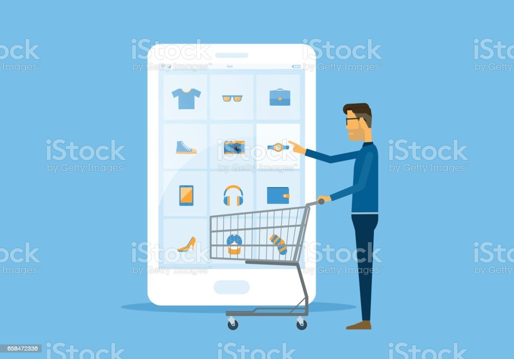 flat vector business online shopping and ecommerce concept with businessman touching on smart phone vector art illustration