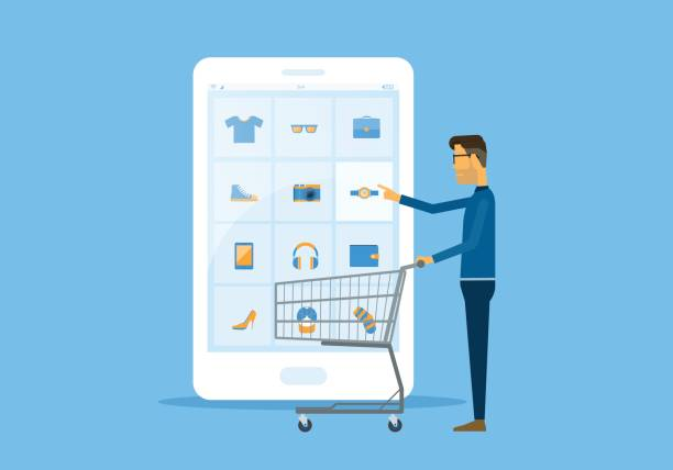 flat vector business online shopping and ecommerce concept with businessman touching on smart phone This file EPS 10 format. This illustration online shopping stock illustrations