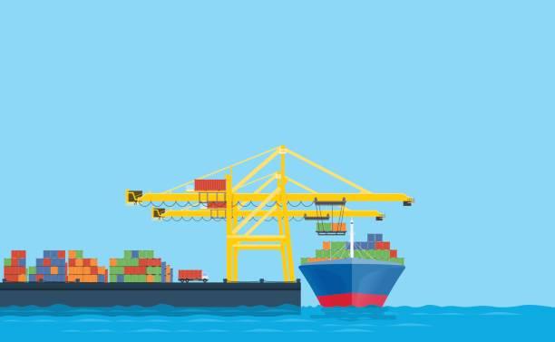 ilustrações de stock, clip art, desenhos animados e ícones de flat vector business shopping and logistics concept.international transport.with cargo shop in shipping dock - porto