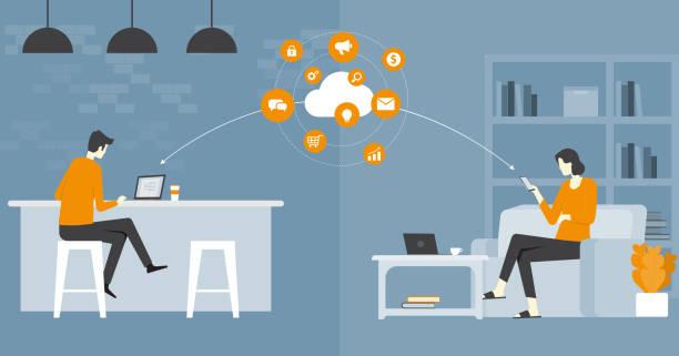 Flat Vector Business Smart Working und Online-Arbeiten bei jedem Arbeitsplatzkonzept – Vektorgrafik