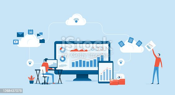 istock flat vector business technology cloud computing service concept and with developer team working concept 1268437075