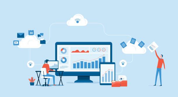 płaski wektorowa koncepcja usługi przetwarzania w chmurze i koncepcja pracy zespołu programistów - chmura stock illustrations