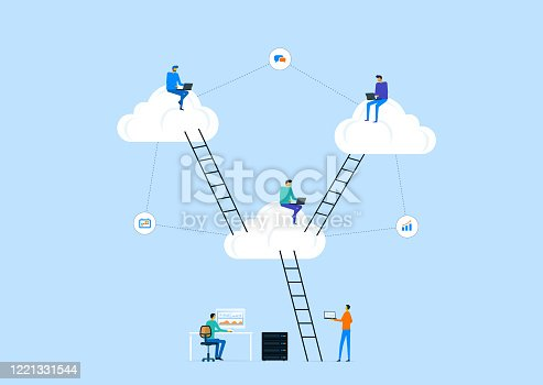 1054713428 istock photo flat vector business technology server storage and cloud connection concept with people working on cloud 1221331544