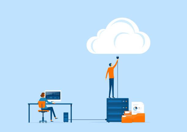 płaskie wektorowe rozwiązania w zakresie technologii biznesowej i koncepcji łączenia w chmurze z administratorem i zespołem programistów - chmura stock illustrations