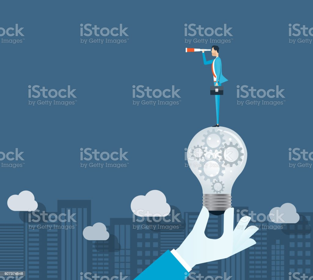 flat vector business vision concept and businessman standing on light bulbs This file EPS 10 format. This illustration Adult stock vector