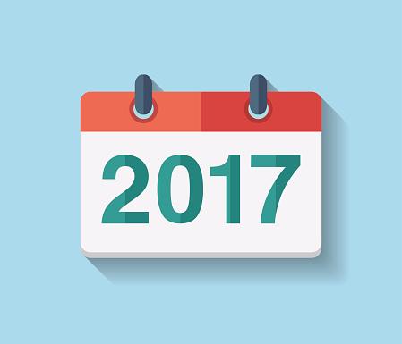 Flat vector calendar icon 2017.