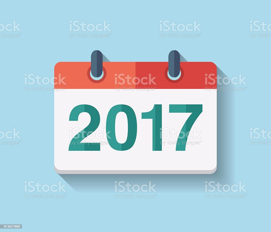 Flat vector calendar icon 2017. - Illustration vectorielle