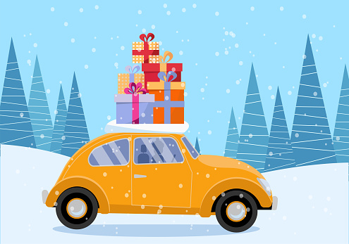 Flat vector cartoon illustration of retro car with presents, christmas tree on roof. Little yellow car carrying gift boxes. Vehicle car side view. Winter snowy forest .Flat cartoon style illustration.