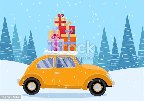 Flat vector cartoon illustration of retro car with presents, christmas tree on roof. Little red car carrying gift boxes. Vehicle car side view, decorated with wheel. Winter snowy forest around