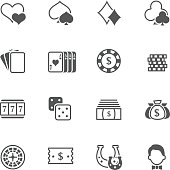 Flat vector casino stuff icons