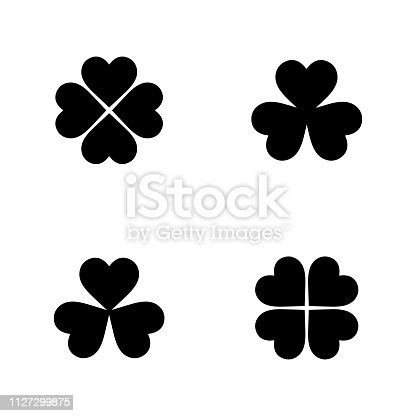 Flat monochrome clover icon collection for web sites and apps. Minimal simple black and white clover collection set. Isolated vector black clover collection set on white background.