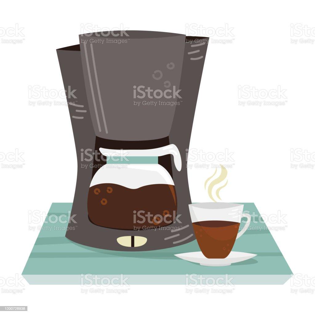Ilustración de Cafetera Vectorial Plana Y Una Taza De Café