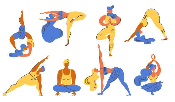 Collection de vector plate d'yoga asana. Hommes et femmes s'engager dans l'yoga. - Illustration vectorielle