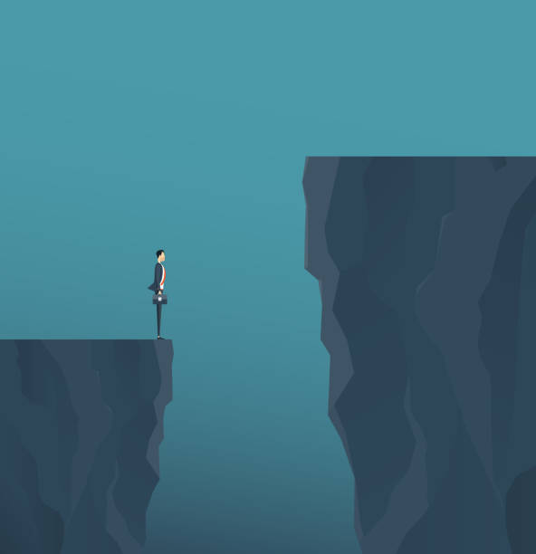 płaski wektor koncepcyjny biznesmen stojący na górskim klifie i koncepcja przeszkód biznesowych - klif stock illustrations