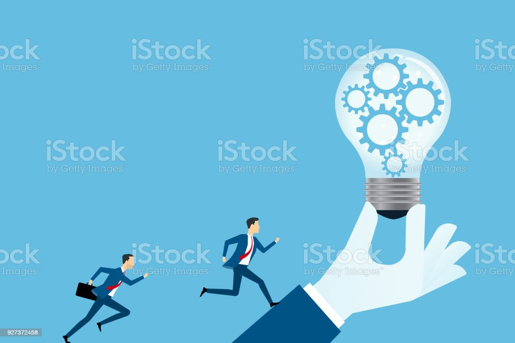 flat vector creative business thinking and  business competition concept with two businessman run to target - Royalty-free Activity stock vector