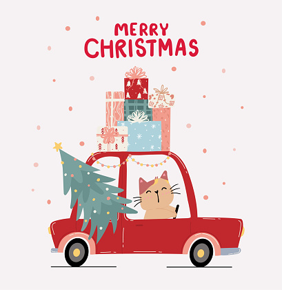 Flat vector cute kitten cat drive red car with pine Christmas tree and stack of present gift box on roof, merry Christmas, idea for greeting card, wall art, t shirt, printable apparels