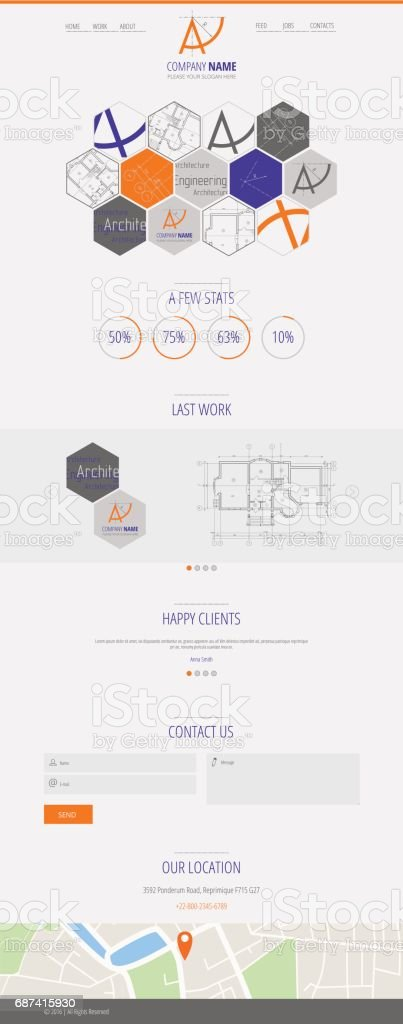 Flat vector design A company web landing page vector art illustration