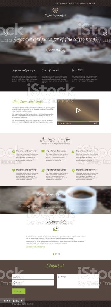Flat vector design coffee company web landing page vector art illustration