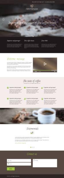 Flat vector design coffee company web landing page vector art illustration