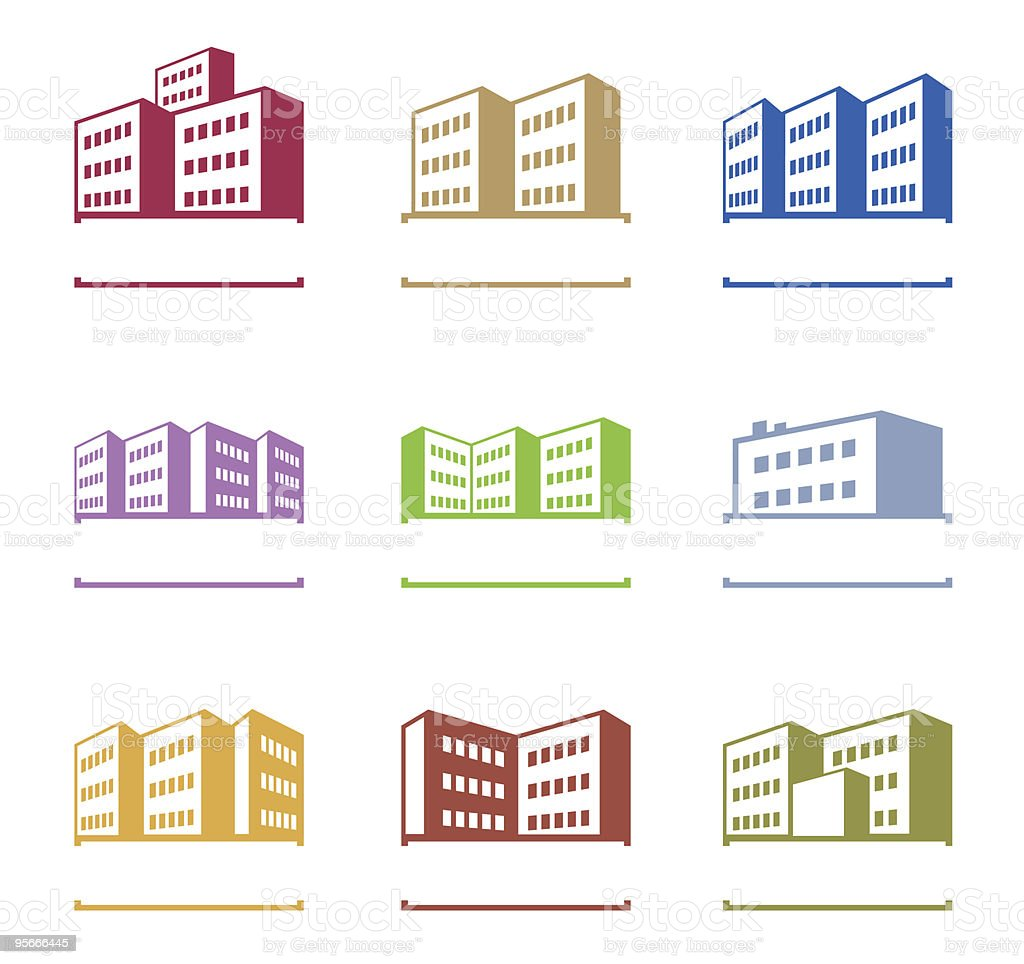 Flat vector design of various colored building logos royalty-free stock vector art