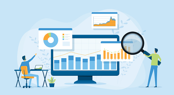 Flat vector design statistical and Data analysis for business finance investment concept with business people team working on monitor graph dashboard