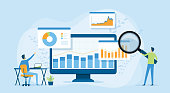 istock Flat vector design statistical and Data analysis for business finance investment concept with business people team working on monitor graph dashboard 1253379369