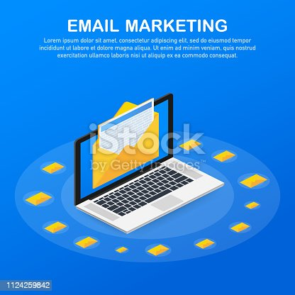 Flat vector for email marketing, newsletter marketing, email subscription. Vector stock illustration.