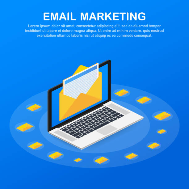 Flat vector for email marketing, newsletter marketing, email subscription. Vector illustration. - illustrazione arte vettoriale