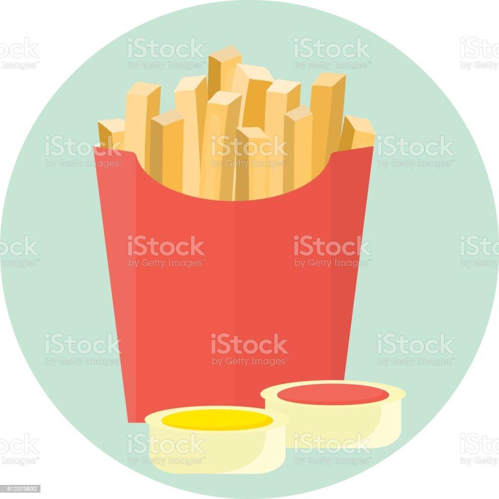 Batata batatas fritas de vetor plana em caixa vermelha com molho de ketchup e mostarda em prato de mergulho - ilustração de arte em vetor